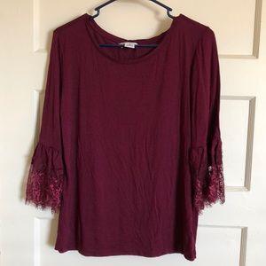 3/4 Sleeve Maroon Blouse
